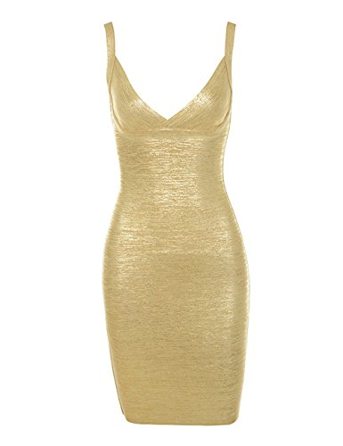 (Ecosunny Women's Sexy Metallic Gold Foil Cross Bust Night Clubwear Bandage Party Dress Gold L)