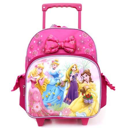 Disney Princess Toddler Rolling Backpack – Featuring Rapunzel, Cinderella, Belle, and Aurora, Bags Central