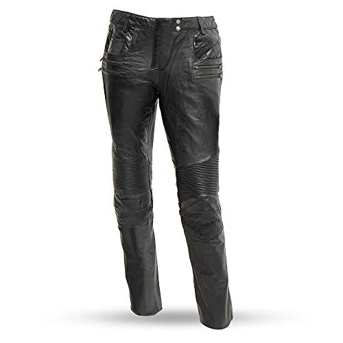 First Mfg Co Vixen Women's Leather Motorcycle Pants (Black, Size 8)