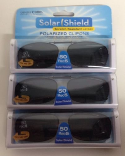 5616be6132 3 SOLAR SHIELD Clip-on Polarized Sunglasses 50 Rec 5 Black Full Frame - On