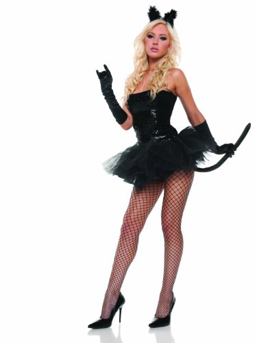 [Mystery House Sequin Kitty Costume, Black, X-Large] (Sexy Sequin Kitty Costumes)