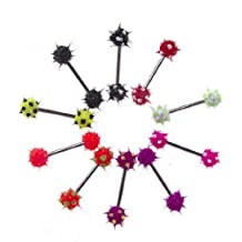 """Lot of 10 Pieces Tongue Ring Silicone Koosh Ball Stainless Steel, Spiky Top Barbell Kit 14G 5/8"""""""