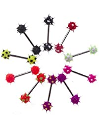 Lot of 10 Pieces Tongue Ring Silicone Koosh Ball Stainless Steel, Spiky Top Barbell Kit 14G 5/8""