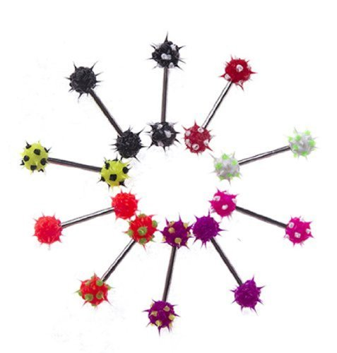 BodyJ4You Lot of 10 Pieces Tongue Ring Silicone Koosh Ball Stainless Steel, Spiky Top Barbell Kit 14G (Koosh Barbell)