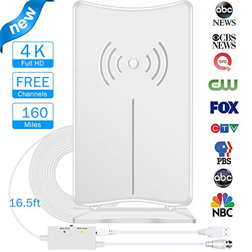 Digital TV Antenna, JoyGeek Amplified HDTV Antenna Stand Indoor 80-160 Miles Long Range Signal Wave Support 4K 1080P HD Freeview Powerful Home Amplifier Signal Booster 16.5ft Coax Cable USB Power
