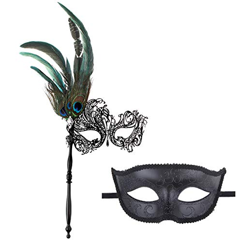 IETANG Couple Mask Half Venetian Masquerade Ball Mask Party Costume Accessory (Feather-1) - Feather Half Masks