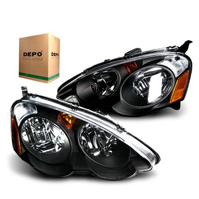 amazon com 2002 2004 acura rsx depo jdm black headlights amber