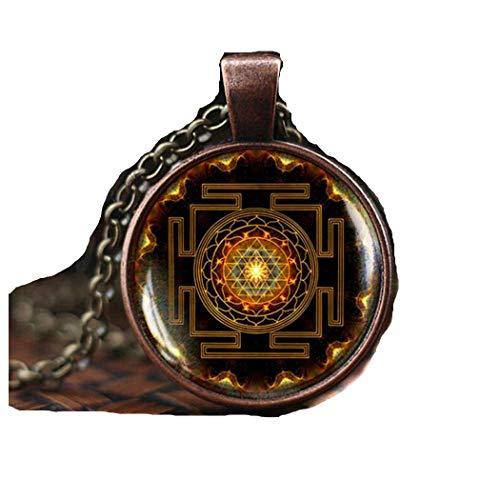 Sri yantra mandala necklace, buddhist sacred geometry jewelry, sri yantra pendant, Spiritual Yoga Jewelry gift, mens necklace
