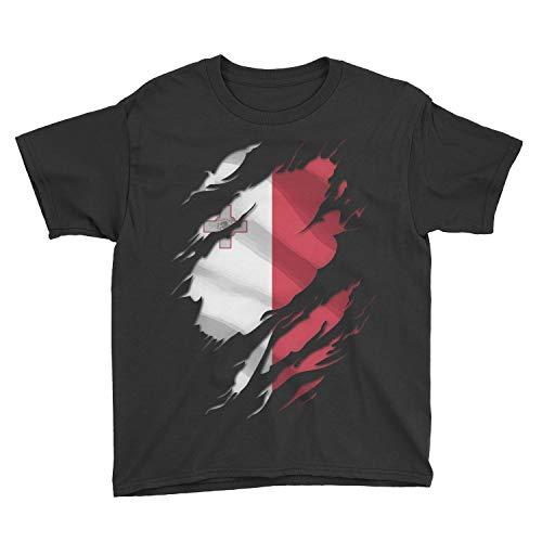 Zindora Kids Maltese Superhero Under Shirt Malta Flag Youth T-Shirt (L, Black)