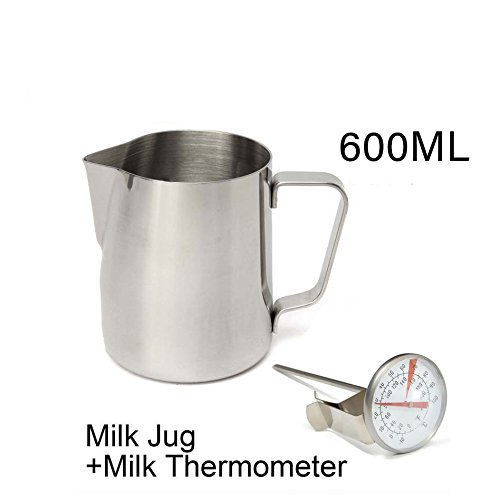 Jug Measuring Metal (20 Oz. Milk Pitcher & Thermometer Set Premium 18/8 Stainless Steel Milk Coffee Pitcher Latte Espresso Frothing Scale Jug Stainless Steel Espresso Pitcher Latte Frothing Pitcher)