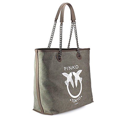 Women's Bag Spring Belato Green Pinko Tote Accessories Canvas 2018 Summer YpxRrYwq