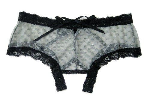 Trixx Intimates Women's Gray Crotchless Boyshort Panty With Black Laceup