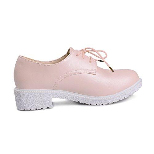 Round Pu Solide Lave sko Pumper Rosa up toe Blonder Hæler 35 Odomolor Kvinners q65CXX