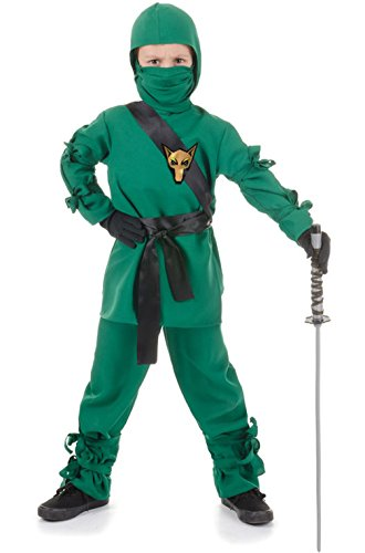 [Mememall Fashion Stealth Secret Ninja Warrior Outfit Child Costume - Green] (Child Blue Stealth Ninja Costumes)