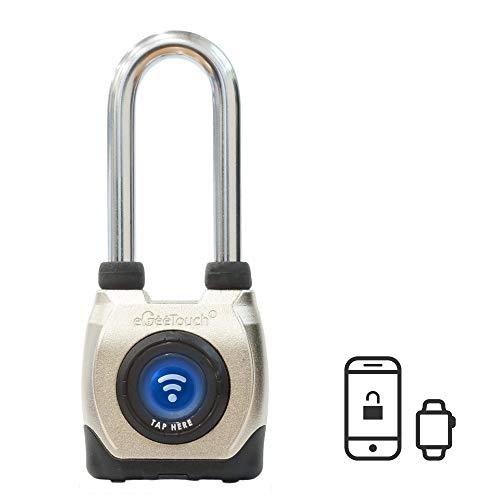 eGeeTouch Outdoor Smart Padlock 3rd Gen, Weatherproof, Bluetooth + NFC, (Long Shackle)