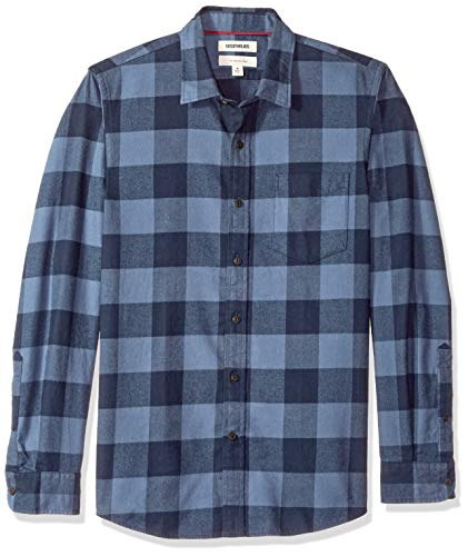 Goodthreads Men's Slim-Fit Long-Sleeve Brushed Flannel Shirt, -denim buffalo, ()
