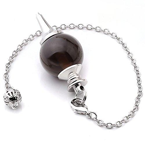 JOVIVI Pendule Esoterisme Radiesthésie Divination Rod Agate Pierres Chakra Pendantif Combinaison Bracelet (Quartz Fumé))