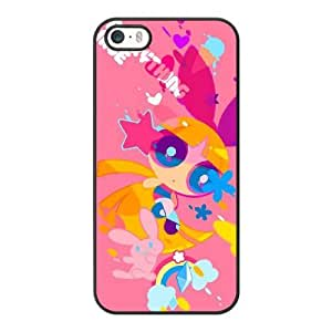 Grouden R Create and Design Phone Case, Powerpuff girl Cell Phone Case for iPhone 5 5S SE Black + Tempered Glass Screen Protector (Free) LPC-8033115