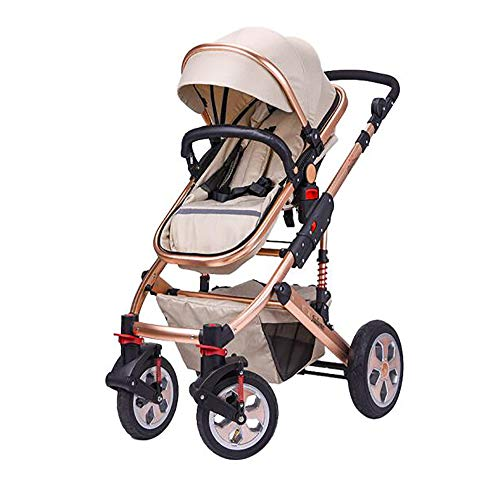 SSRS Toddler Pram Seat High Landscape 2 in 1 from Birth Newborn Pushchairs Baby Strollers Fold Five-Point Seat Belt Two Way (Tan)