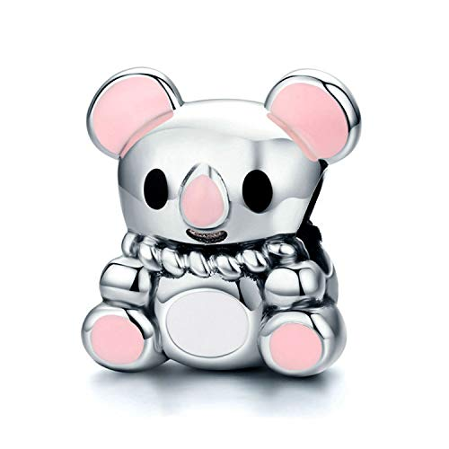 (925 Sterling Silver Charm fit Pandora Charms Bracelet Necklace Pink Enamel Cute Bear Charm Birthday Gifts Jewelry)