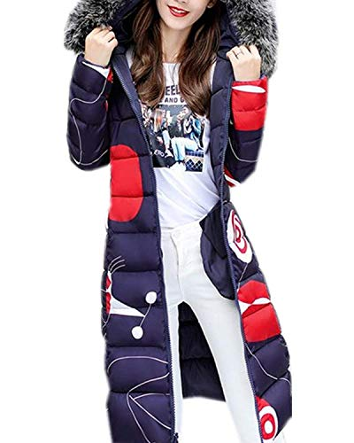 Confortevole Manica Parka Piumini Blau Stampate Donna Cappuccio Anteriori Con Moda Outerwear Grazioso Lunga Cerniera Tasche Pattern Giacca Invernali ZOzrnZTxFq