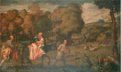ポリエステルキャンバス、鮮やかなアートの装飾プリントキャンバスの油絵「The Flight Intoエジプト、1508by Tiziano Vecellio `、18x 30インチ/ 46x 77cm is best forランドリールーム装飾、ホーム装飾、ギフトの商品画像