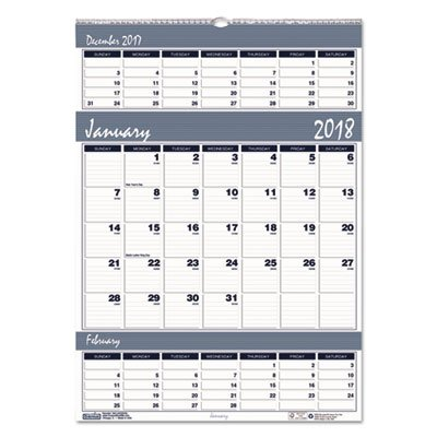 Recycled Bar Harbor Three-Months-per-Page Wall Calendar, 12 x 17, 2017-2019