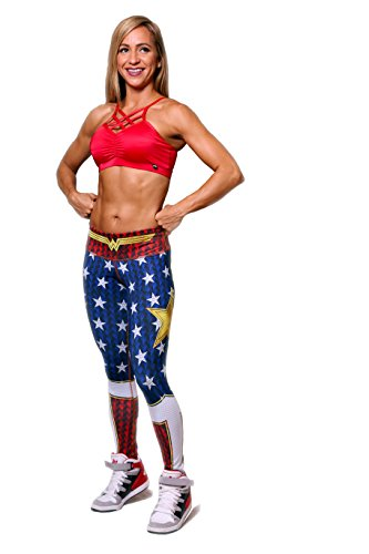 Superhero Tights (Wonder Woman Large Fiber Leggings Superheroes Yoga Pants Pilates Women Tights)