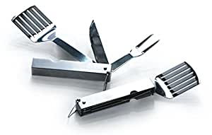 3-Piece Stainless Steel Folding Barbecue Tool Set - Travel Compact BBQ