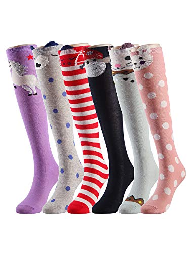 (Girl Cartoon Animal Cotton over Calf Knee High Socks 6 Colors SetA One Size)