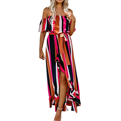 Price comparison product image OufenliWomen Off Shoulder Dresses Ladies Maxi Dress Summer Sexy Striped Print Lacing Sundress for Evening Party (S,  Red)