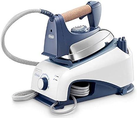 De'Longhi PRO1465 - Centro de planchado, 800 W, 0.85 L, aluminio, 90 g/min, azul/blanco
