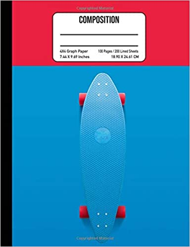 Libro Epub Gratis Composition 4x4 Graph Paper 100 Pages / 200 Lined Sheets 7.44 X 9.69 Inches: Skateboard Composition Notebook Teen & Kids School Notebook Skateboarding Composition Book Sports Recreation Notebook