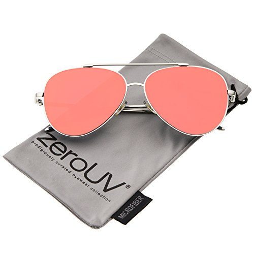 zeroUV - Mod Fashion Teardrop Rimless Mirror Flat Lens Metal Frame Aviator Sunglasses 58mm (Silver / Orange - Mirrored Sunglasses Orange