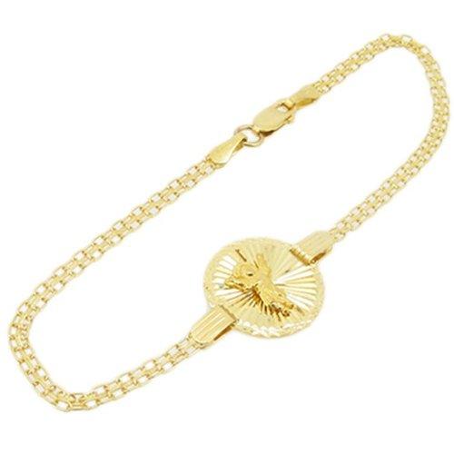 Femme Or jaune 10 carats pour bracelet fantaisie lien Jésus médaille AGWBRP7 7,2 cm de hauteur et de largeur de 15 mm