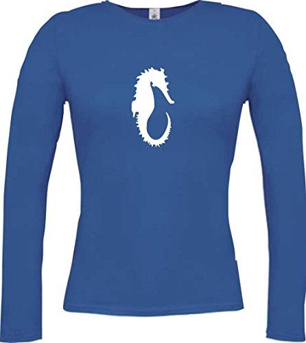 Krokodil - Camiseta - Casual - Cuello redondo - Manga Larga - Mujer azul cobalto