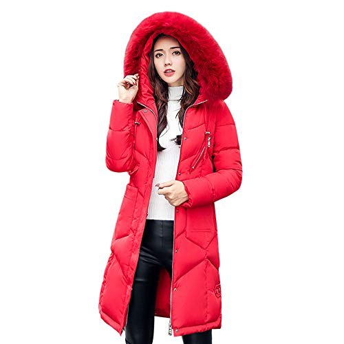 HOMEBABY Women Winter Long Cotton-Padded Jackets Coats,Ladies Thick Faux Fur Hooded Parka Quilted Padded Winter Lightweight Trench Long Sleeve Tops Cardigan Outwear Overcoat Red
