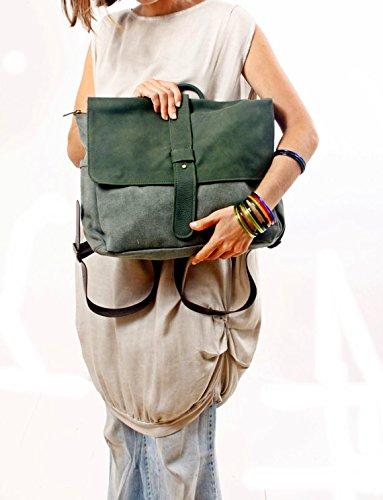 Handmade Green Leather and Canvas Messenger Backpack, Handmade Laptop Rucksack Handbag