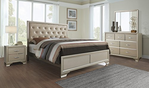 Global Furniture Noelle-QB Bed, Queen, Champagne