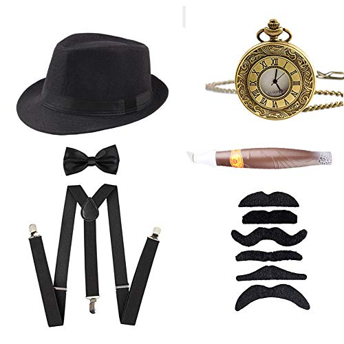 AIDIAN 1920s Mens Accessories Gatsby Gangster Hat Suspenders Y-Back Pre Tied Bow Tie Fake Mustache & Cigar Black ()