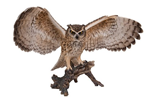 Hi-Line Gift Ltd Eagle Owl on Branch with Wings Out Statue