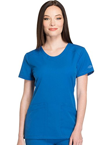 Dickies Dynamix by Women's Round V-Neck Solid Scrub Top Large - Blue V Round