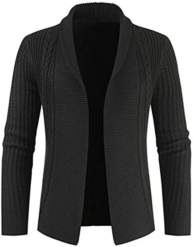 ZCZH Męskie Sweater Langarm Freizeit Einfarbig Revers Strickpullover Męskie Casual Gerippte Strickjacke Męskie Mode Elegante Strickjacke Lose Cardigan Jacke Tops: Odzież