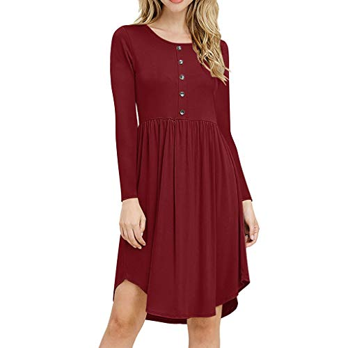 Dress European and American Summer Round Neck Button Long Sleeve Large (Color : Red, Size : XL)