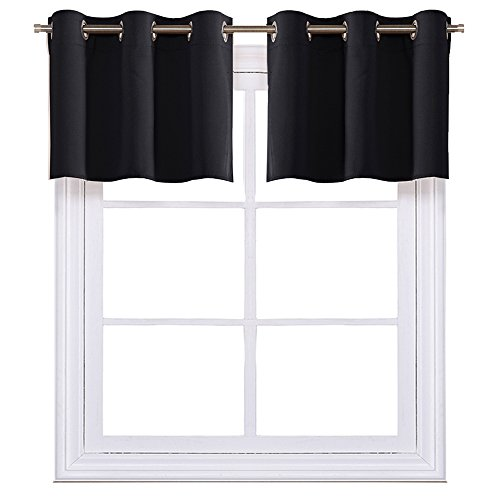 NICETOWN Black Small Window Valances Curtains - Thermal Insulated Home Decor Blackout Grommet Tier Curtains Drapes for Basement Windows (42