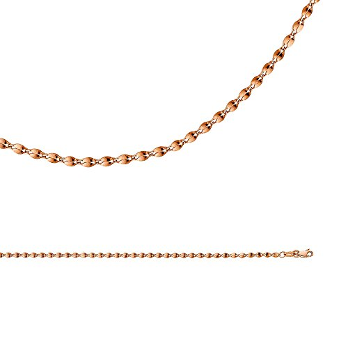 Mirror Chain Solid 14k Rose Gold Necklace Curved Double Link Hollow Polished Light, 2.2 mm - 16 inch