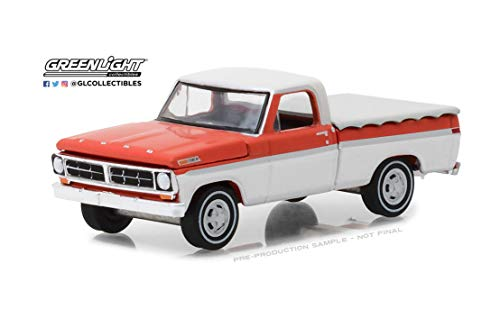 New DIECAST Toys CAR Greenlight 1:64 Hobby Exclusive - 1971 Ford F-100 with Bed Cover RED/White 29957