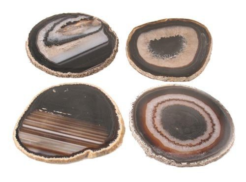 Airblasters Black color 3.5-4 inch Natural Sliced Agate Coaster Set of 4 by Airblasters (Image #3)