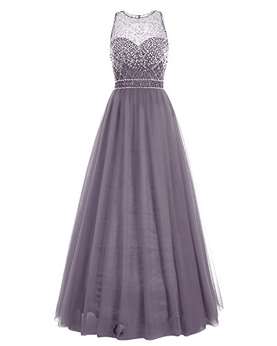 Bridesmay Long Tulle Prom Dress Illusion Sequins Floor Le...