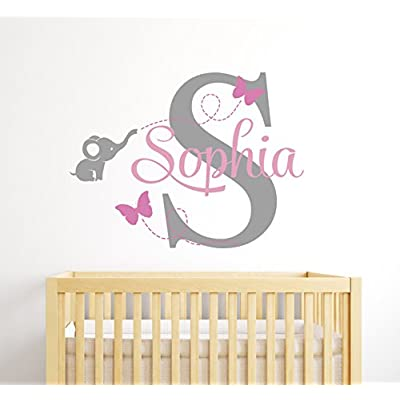 Custom Elephant Name Wall Decal for Girls - Baby Room Decor - Nursery Wall Decals - Elephant Wall Decor: Baby